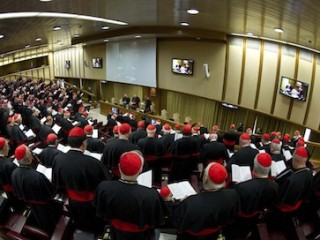 Cardinals attend a meeting at the synod hall in the Vatican March 4. Preparations for electing a new pope began as the College of Cardinals met. (CNS photo/L'Osservatore Romano Via Reuters) (March 4, 2013) See CARDINALS-MEET March 4, 2013.