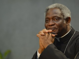 "Ghanaian cardinal Peter Kodwo Appiah Turkson attends the signature of the ""Global Freedom Network"" agreement between representatives of Catholic church, the Anglican church and Sunni University Al-Azhar to fight against ""modern forms of slavery and human trafficking,"" on March 17, 2014 at the Vatican.  AFP PHOTO / ANDREAS SOLARO / AFP / ANDREAS SOLARO"