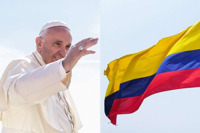 Pope_Francis_Credit_Polifoto_Shutterstock_Colombia_flag_Credit_J_Stephen_Conn_Flickr_CC_BY_NC_20_CNA