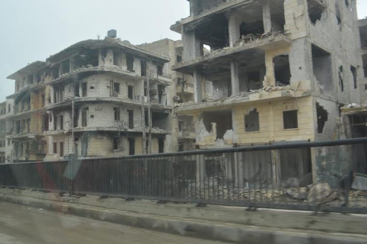 Devastation of central Aleppo, Syria