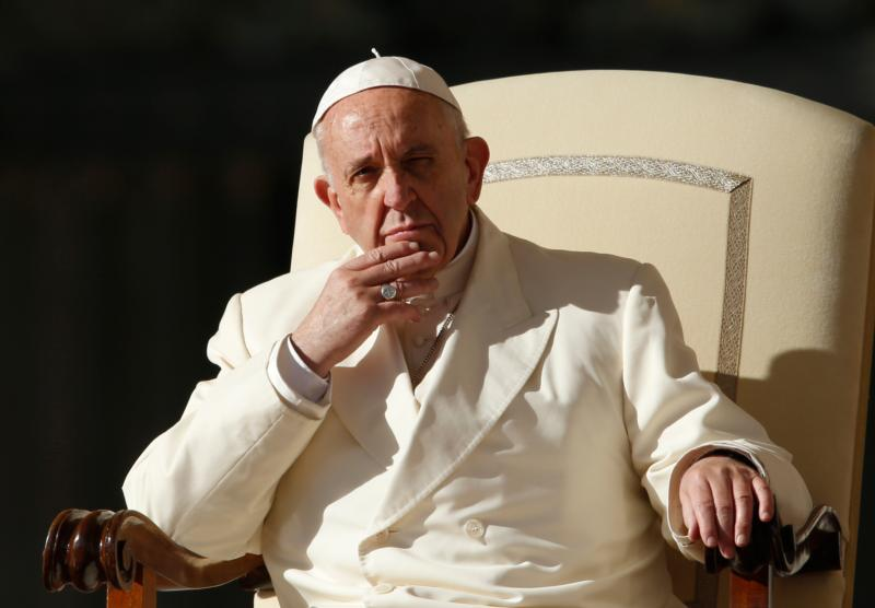 Pope Francis looks on during his general audience in St. Peter's Square at the Vatican Nov. 8. (CNS photo/Paul Haring) See POPE-AUDIENCE-MASS Nov. 8, 2017.