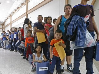 Families migrating to the US being processed in Texas