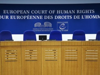 This photo shows the inside of the European Court of Human Rights (ECHR) in Strasbourg, eastern France, on February 7, 2019. (Photo by FREDERICK FLORIN / AFP)