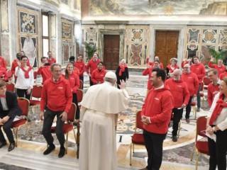 Đức Giáo hoàng Phanxicô gặp một phái đoàn từ Fidesco vào ngày 20 tháng 3 năm 2021 (Ảnh: Truyền thông Vatican)