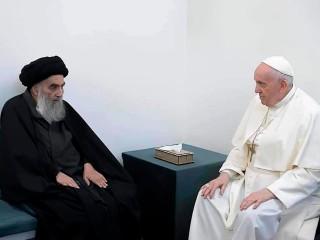 Đức Thánh Cha Phanxicô gặp gỡ nhà lãnh đạo Hồi giáo dòng Shiite, Đại Ayatollah Ali al-Sistani, tại Najaf, Iraq vào ngày 6 tháng 3 năm 2021 (Ảnh: AP)