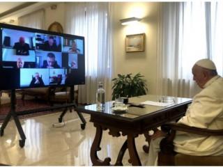 Đức Thánh Cha Phanxicô tham gia cuộc họp trực tuyến của Hội đồng Hồng y tại Vatican, ngày 21 tháng 9 năm 2021 (Ảnh: Truyền thông Vatican)